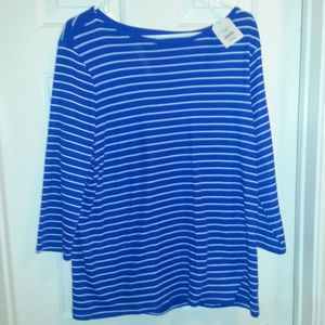 Faded Glory blue and white striped top xxl 20 NWT